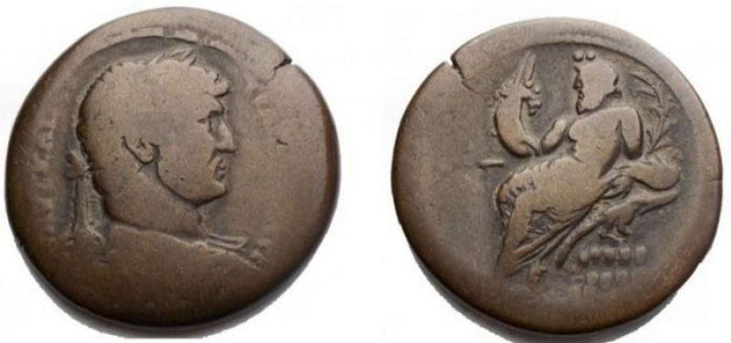 obverse: Impero Romano - Hadrian (117-138). Egypt, Alexandria. AE Drachm (33.5 mm - 23.98 gr.). d bust of Hadrian graduated, draped and armored on the right r / Nile lying on a crocodile, on the left, holding a cornucopia, from which emerge a Genius and a cane. Good Fine
