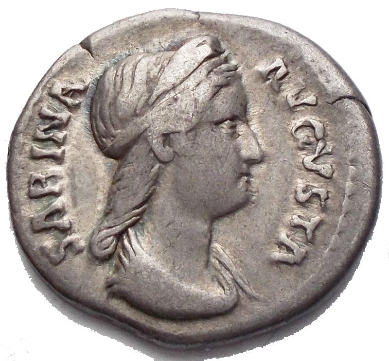 obverse: Impero Romano - Sabina, moglie di Adriano deceduta nel 137 d.C. Denario. d/ SABINA AVGVSTA. Busto a ds con testa diademat  r/ CONCOR DIA AVG. Concordia stante volta a sn., tiene patera e doppia cornucopia. RIC (Hadrian) 390. AG. BB+. Leggera patina