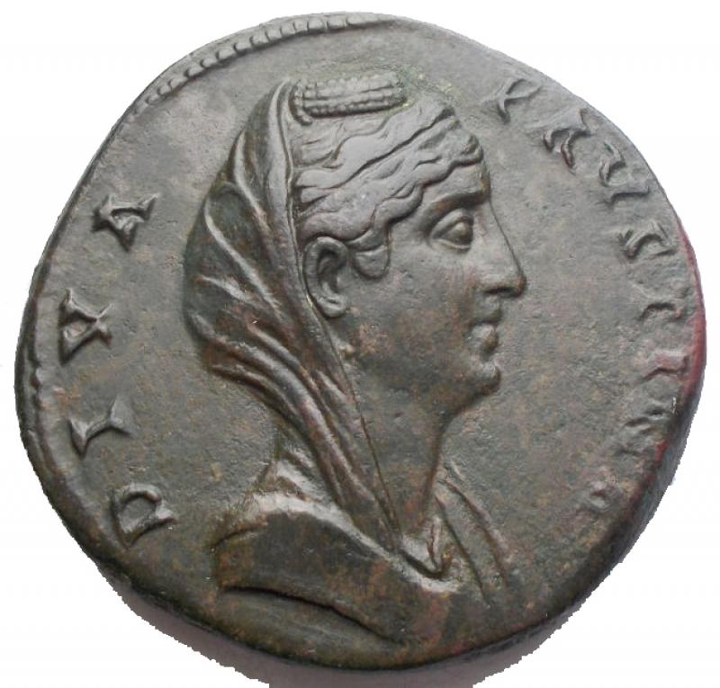 obverse: Impero Romano - Faustina I (moglie di Antonino Pio) Sesterzio - Busto velato a d. - R/ L'Eternità stante a s. - RIC 1102 AE (g 27,35) - SPL