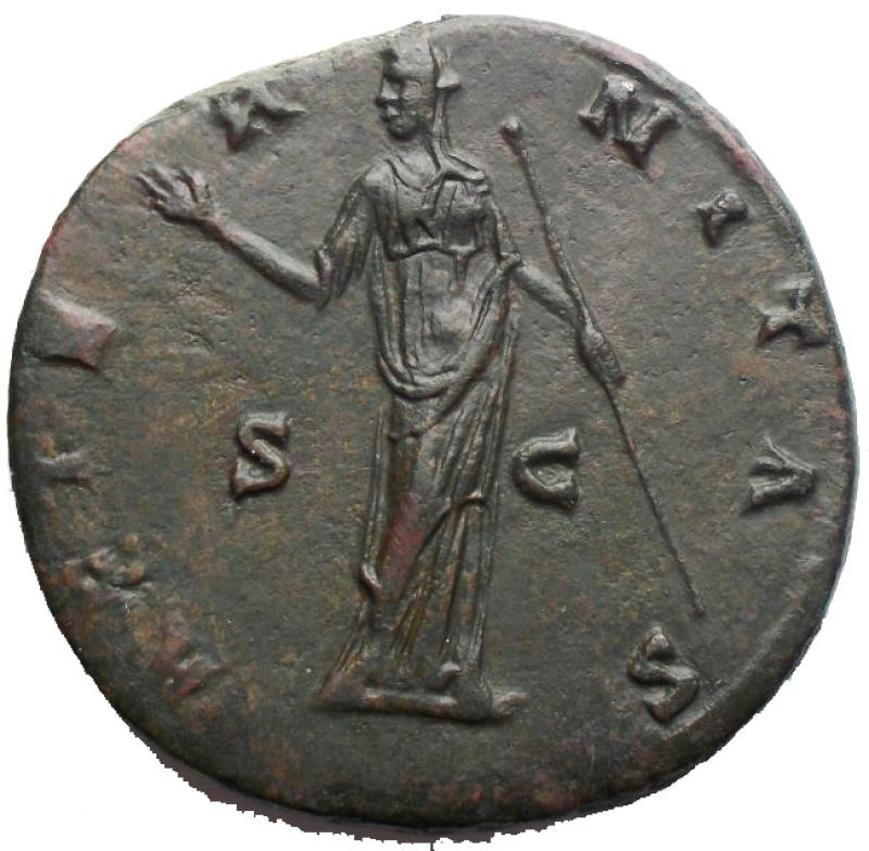 reverse: Impero Romano - Faustina I (moglie di Antonino Pio) Sesterzio - Busto velato a d. - R/ L'Eternità stante a s. - RIC 1102 AE (g 27,35) - SPL