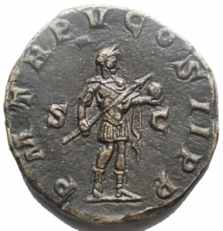 Impero Romano - Gordiano III il Pio. 238-244 d.C. Sesterzio Ae d/ IMP GORDIANVS PIVS FEL AVG busto di Gordiano verso destra r/ P M TR P V COS II P P / S C Gordiano stante verso destra con lancia e globo . Peso 15,82 g Diametro 27,5 mm.  BB++.Abilmente restaurato