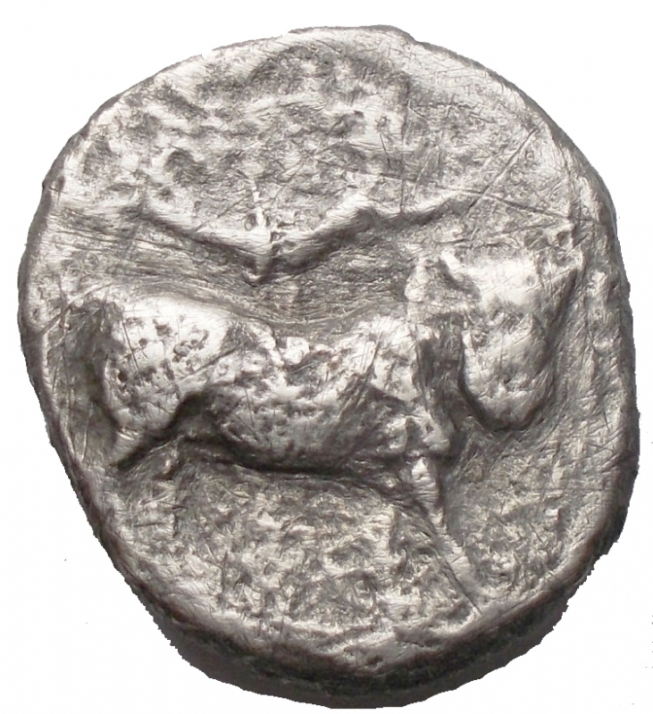 reverse: Mondo Greco - Campania Neapolis. 325-241 a.C. Nomos. AR. D/ Testa Diademata della Ninfa verso destra dietro simbolo R/ Toro androcefalo verso destra, sopra Nike in volo con corona. Peso 5,9 gr. MB+