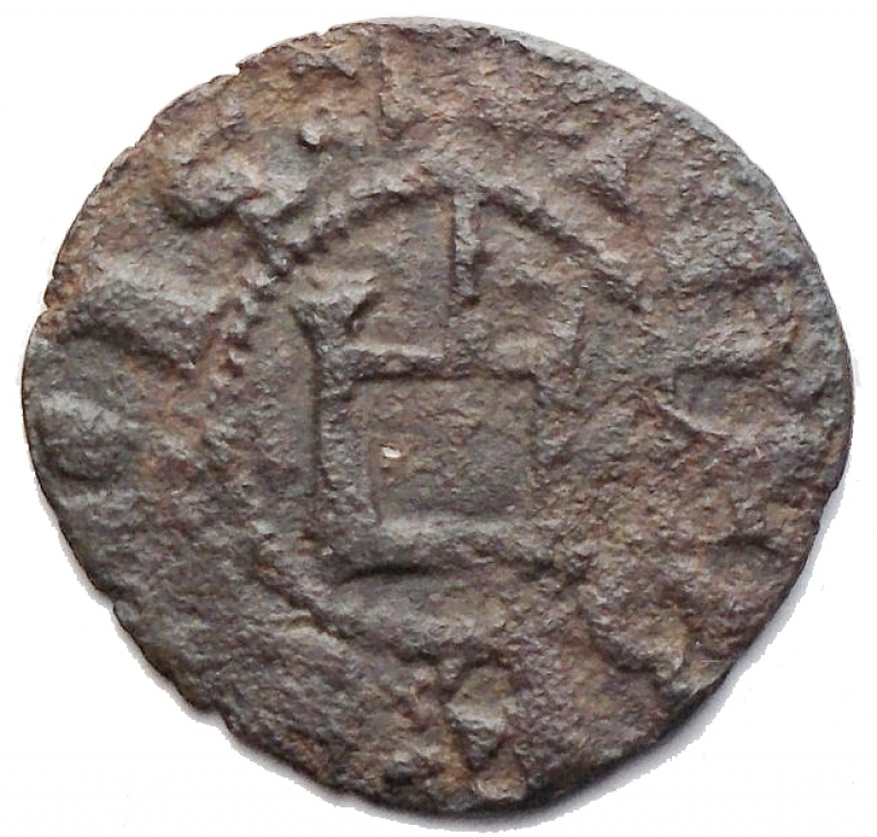 obverse: Oriente Latino - Athens. Crusader coins. Guillaume de la Roche (1280-1287). Obol, perhaps minted during the Minority of Gui II. D/ G.DVX.ATENES. Large fleud-de-lis. R/ THEBE CIVIS. Genoese gateway, pellet in center. Malloy 82. Schl. XIII, 32. De Saulcy Tav. XVII, 14. MI. g. 0.48 mm. 14.00 RRR. VF+.