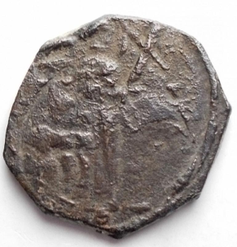 obverse: Oriente Latino -  Antiochia. Tancredi (1101-1112). Follis. MPS 6 Schl. V,1. d/ Santo in piedi r/ Croce gr. 4,18 R. AE. MB-qBB. Patina scura
