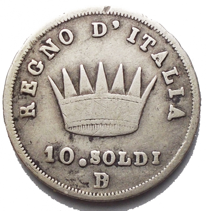 obverse: Zecche Italiane - Bologna. Napoleone I (1805-1814). 10 soldi 1813, B su M. Pag. 62. Mont. 105a. AG. g. 2.39. RRR. qBB.