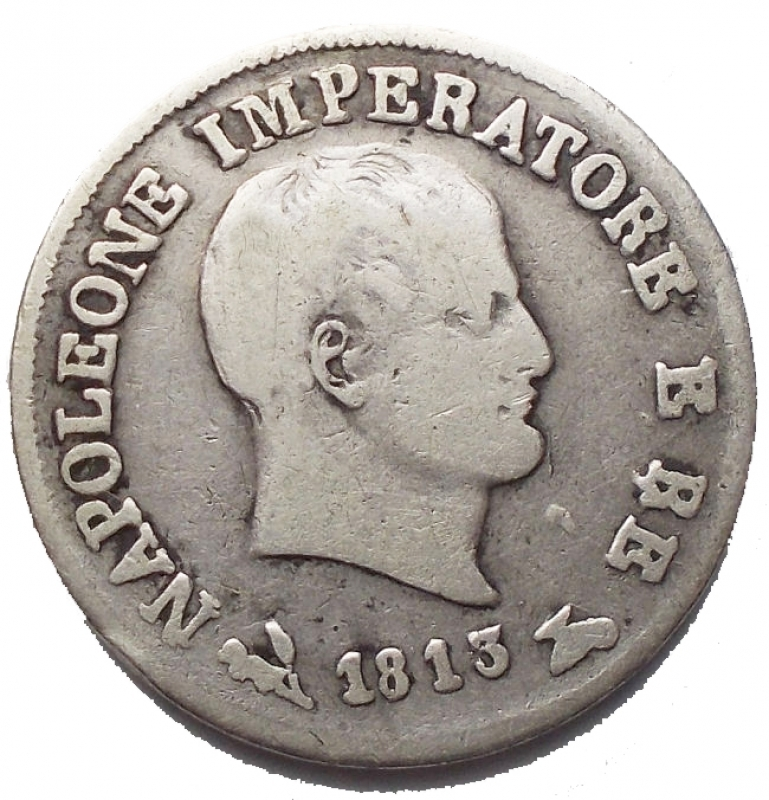 reverse: Zecche Italiane - Bologna. Napoleone I (1805-1814). 10 soldi 1813, B su M. Pag. 62. Mont. 105a. AG. g. 2.39. RRR. qBB.