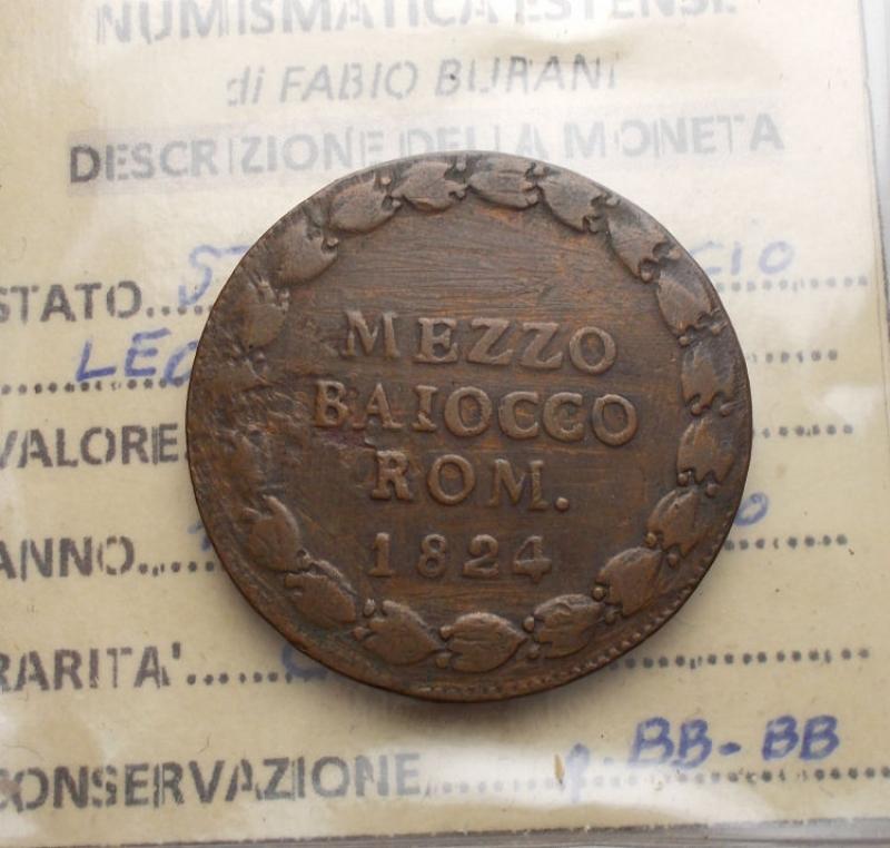 obverse: Zecche Italiane - Bologna. Leone XII. Mezzo baiocco 1824