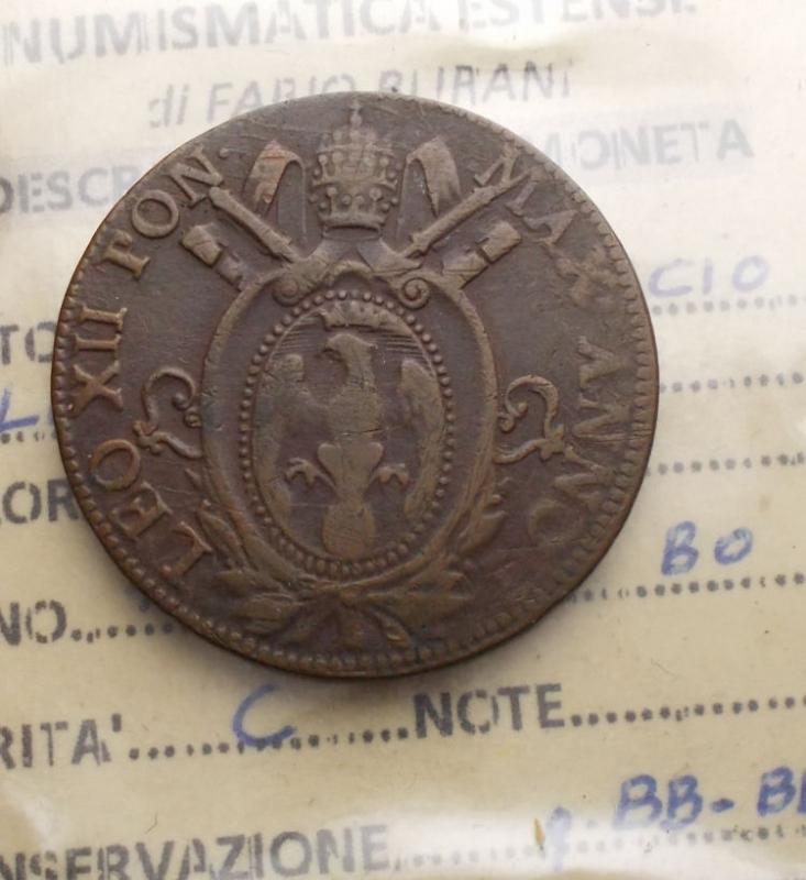reverse: Zecche Italiane - Bologna. Leone XII. Mezzo baiocco 1824