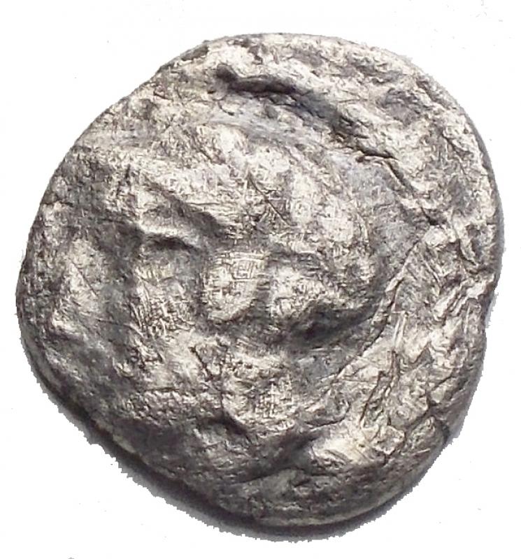 obverse: Mondo Greco - Lucania. Eraclea ca 432-420 a.C. Diobolo AR g 0,95. mm 11,75 d/ Testa a sn. r/ leone a destra. qBB. R