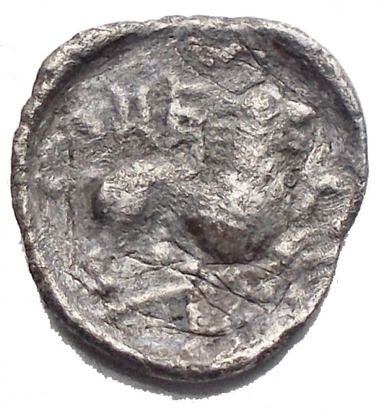 reverse: Mondo Greco - Lucania. Eraclea ca 432-420 a.C. Diobolo AR g 0,95. mm 11,75 d/ Testa a sn. r/ leone a destra. qBB. R