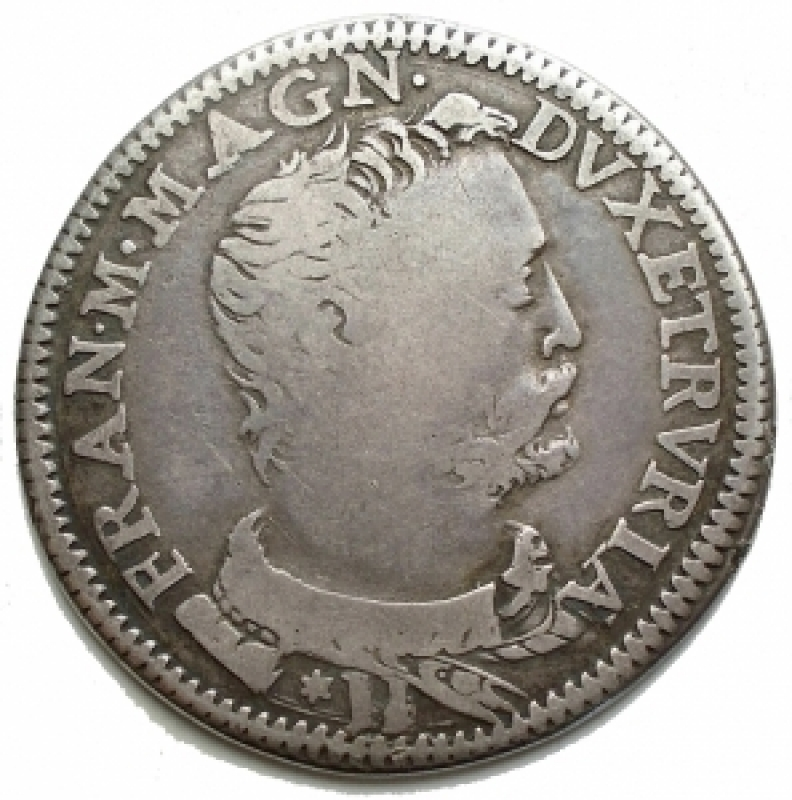 obverse: Zecche Italiane - Firenze. Francesco I De Medici (1574-1587). Testone 1577. MIR 185. Gal. XII, 1/8.CNI XXII, 4. AG. g. 8,66. RR