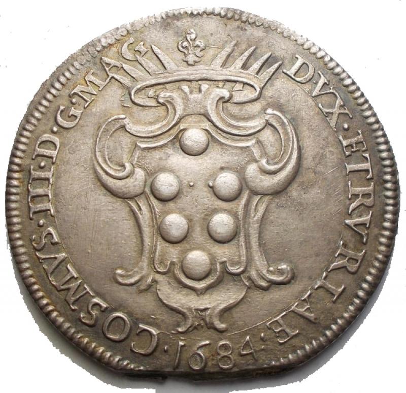 obverse: Zecche Italiane - LIVORNO Cosimo III (1670-1723) Pezza della rosa 1684 - CNI 23; MIR 66/2 AG (g 25,2) RR Millesimo molto raro. BB-SPL. Imperfezioni. Patina