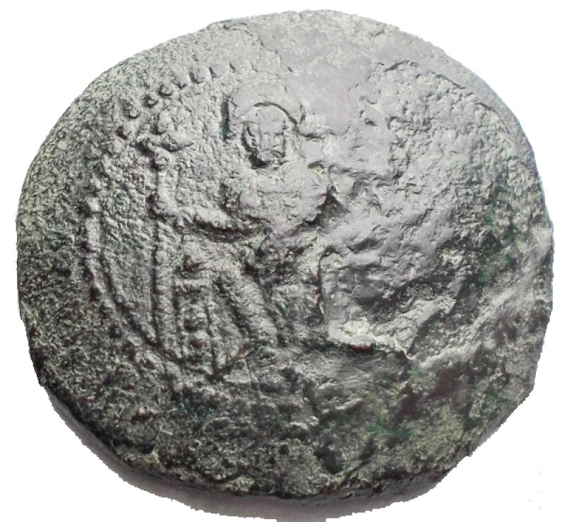 reverse: Zecche Italiane. Messina. Ruggero II (1105-1154). Doppio follaro. AE. gr 6,48. mm 24,2 x 23,2. BB+/qBB. R.