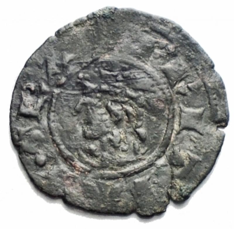 obverse:  Zecche Italiane - Messina. Federico III (1296-1337) Denaro. D/ Testa coronata a sinistra. R/ Croce. MI. gr 0,70. Biaggi 1312. BB.