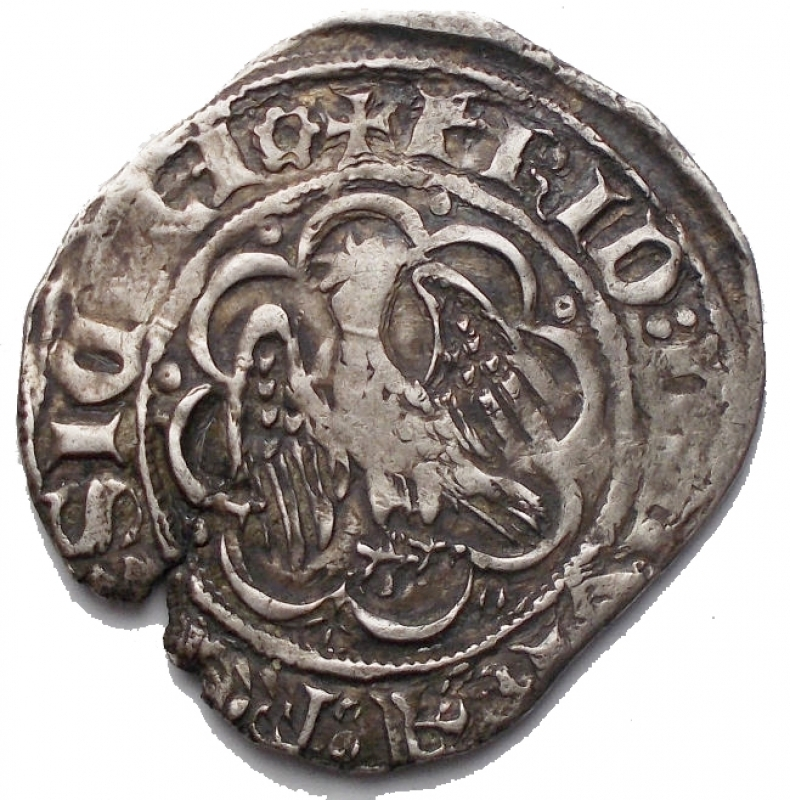 obverse: Zecche Italiane - Sicilia. Messina. Federico IV  il Semplice  (the Simple) AR Pierreale. 1355-1377. ✠ FRID ⦂ DЄI GRA ⦂ RЄX SICILI ⦂, crowned eagle standing to left, head reverted and wings spread, within octolobe with eight annulets in external voids / ✠ AC ATЄNARU : NЄOPATR • DUX, coat-of-arms of Catalonia flanked by M-M across fields, all within octolobe with eight annulets in external voids. Spahr 70-6; MIR 194/17; MEC 791-3. 3.21g. 24,6 x 25,3 mm. BB