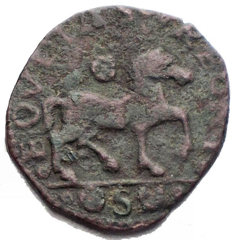 obverse: Zecche Italiane - Napoli Ferdinando I d Aragona (1458-1485) Cavallo. D/ Busto a destra. R/ Cavallo a destra, in esergo S. Biaggi 1688. AE. g 1,76. RR. BB+. Patina verde intenso
