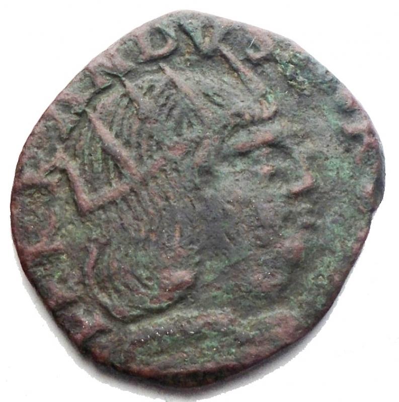 reverse: Zecche Italiane - Napoli Ferdinando I d Aragona (1458-1485) Cavallo. D/ Busto a destra. R/ Cavallo a destra, in esergo S. Biaggi 1688. AE. g 1,76. RR. BB+. Patina verde intenso