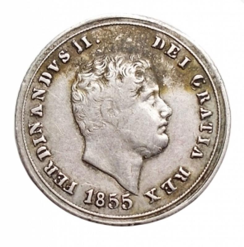 obverse: Zecche Italiane - Napoli. Ferdinando II. 1830-1859. 10 grana 1855. P.R. 168. Peso 2,28 gr. Diametro 18,66 mm. qBB