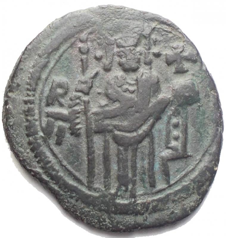 obverse: Zecche Italiane - Palermo. Ruggero II (1140-1148). Doppio follaro. Sambon 899. gr. 3.48. R. AE. BB-SPL