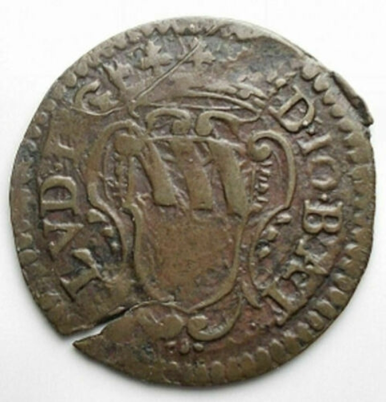 reverse: Zecche Italiane - Piombino (D) Johann Baptist Ludovisi 1665-1699 Soldo da 3 Quattrini 1694 MIR:375/2, CNI:10/I; Schrötlingsriss RR s.sch.+