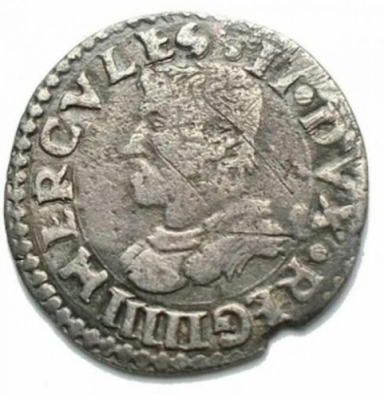 reverse: Zecche Italiane - Reggio Emilia. Ercole II d'Este (1534-1559). Colombina con Santa Daria. Ag. Rara. MIR 1317 variante