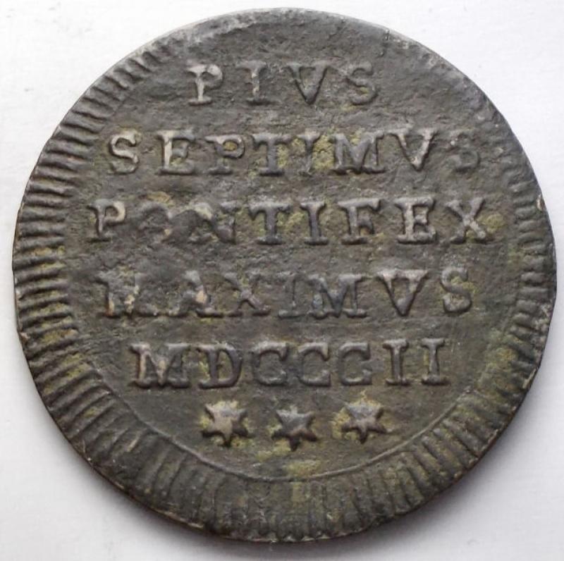 obverse: Zecche Italiane - Roma. Pio VII (1800-1823). Mezzo baiocco 1802 A.II. Gig.62. AE. BB.