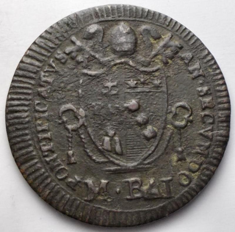 reverse: Zecche Italiane - Roma. Pio VII (1800-1823). Mezzo baiocco 1802 A.II. Gig.62. AE. BB.