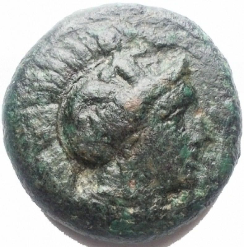 obverse: Mondo Greco - Lucania. Thurium. AE 23,2 mm, ca. 425-400 a.C. D/ Testa di Athena a destra. R/ ΘΟYPIΩΝ. Toro cozzante a destra. In esergo: un pesce. g. 13,7. BB. Patina verde