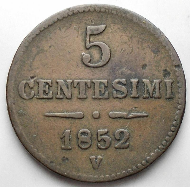 obverse: Zecche Italiane - Venezia. Francesco Giuseppe (1849-1866). 5 centesimi 1852. AE. BB+
