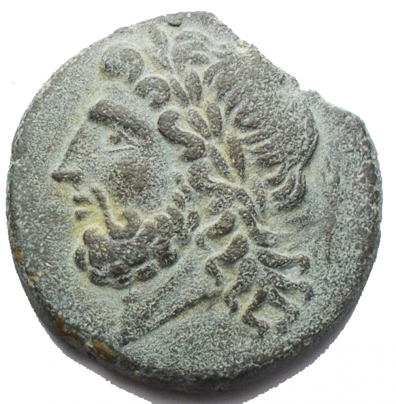 obverse: Mondo Greco - Apulia Arpi (Circa 325-250 a.C.) AE 20,9 mm. D/ testa di Zeus a sinistra. R/ Cinghiale a destra, sopra lancia. 6,46 gr. HN Italy 642. BB-SPL/BB+. Bellissimo ritratto. Patina verde marrone