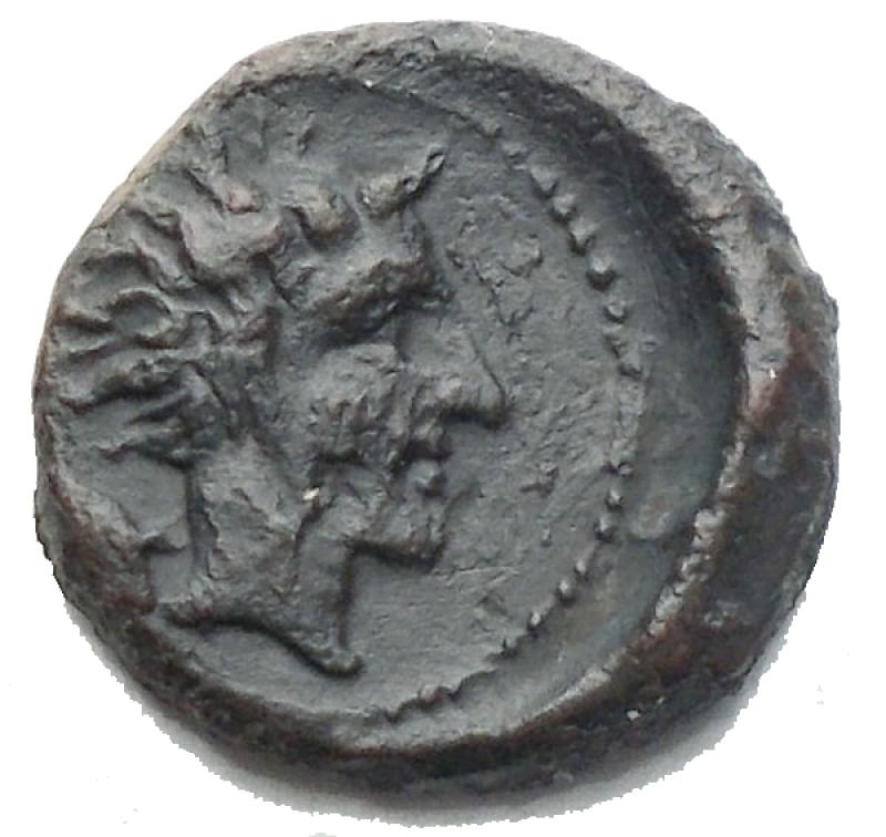 obverse: Mondo Greco - Sicilia. Gela. 420-405 a.C. Oncia. Ae. D/ Toro stante a sinistra. R/ Testa del giovane dio fluviale Gela a destra. Peso gr. 1,07. qBB.