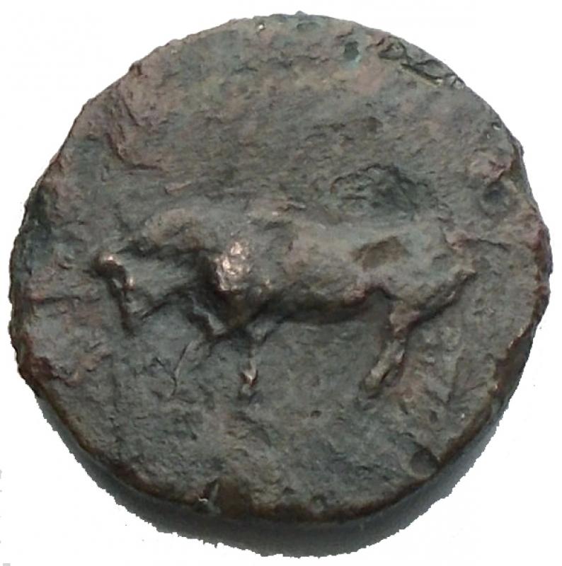 reverse: Mondo Greco - Sicilia. Gela. 420-405 a.C. Oncia. Ae. D/ Toro stante a sinistra. R/ Testa del giovane dio fluviale Gela a destra. Peso gr. 1,07. qBB.