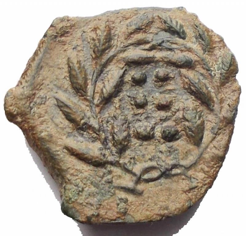 reverse: Mondo Greco - Sicilia Himera. Prima del 407 a.C. Ae. Emilitra. D/ Testa della ninfa Himera verso sinistra. R/ Sei globetti entro corona di alloro. SNG ANS 186. Peso 2,92 g.  BB+. Patina verde oliva