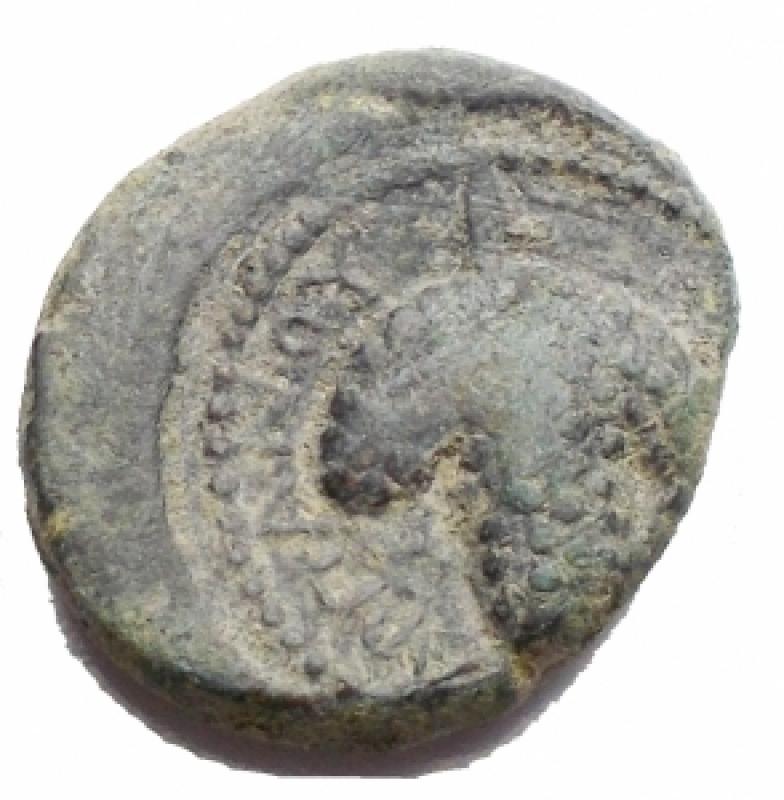reverse: Mondo Greco - Apulia. Arpi. III° secolo a.C. AE. D/ Testa di Athena con elmo corinzio a destra. R/ APΠANOY. Grappolo d uva. SNG ANS 646. Peso g 3,68. Diametro mm 15,9. BB.