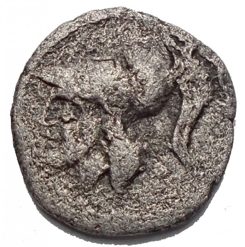 obverse: Mondo Greco - Apulia Arpi (III° secolo a.C.) Obolo. D/ Testa di Athena a sinistra. R/ APΠA. Spiga d orzo. AG. 0.57 gr. Weber I, 421. qBB. RRR. Assente nelle principali sillogi.