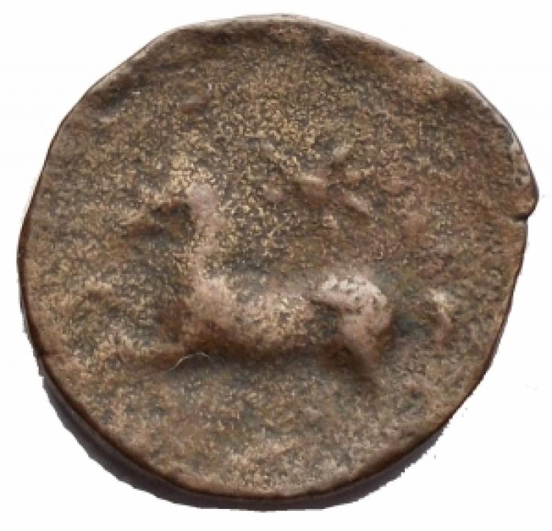 reverse: Mondo Greco - Apulia. Arpi. Obolo Ae. 217-213 a.C. d/Testa di Zeus verso sinistra. r/Cavallo al galoppo verso sinistra sopra una stella. Peso 3,6 g. Diametro 16,6 mm. BB