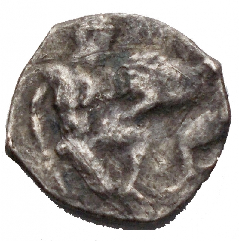 reverse: Mondo greco - Apulia, Arpi. AR Diobol, 325-275 BC. Obv. Head of Athena right, wearing Attic helmet decorated with hippocamp; before, APΠ CEPTI. Rev. Herakles right, holding club and fighting lion; above, traces of ethnic. HN Italy 637. SNG ANS 632. AR. g. 0.9 mm. 12.00 R. Rare. VF+.