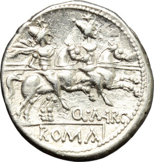 reverse: Q. Marcius Libo.. AR Denarius, 148 BC