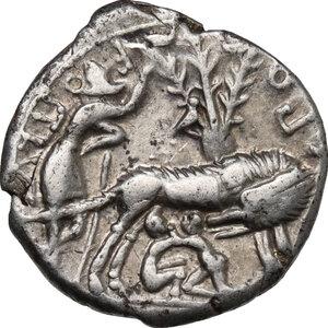 reverse: Sex. Pompeius Fostlus.. AR Denarius, 137 BC