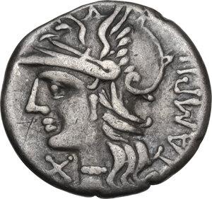 obverse: M. Baebius Q. f. Tampilus.. Denarius, Rome mint, 137 BC