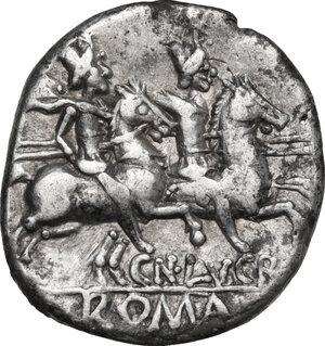 reverse: Cn. Lucretius Trio.. AR Denarius, 136 BC