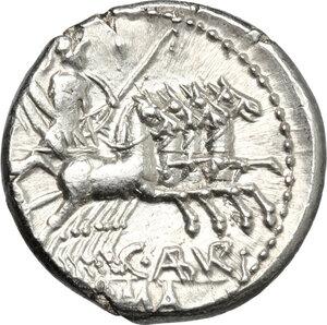 reverse: C. Aburius Geminus.. AR Denarius, 134 BC: