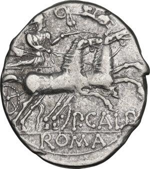reverse: Publius Calpurnius Lanarius. Denarius, Rome mint, 133 BC