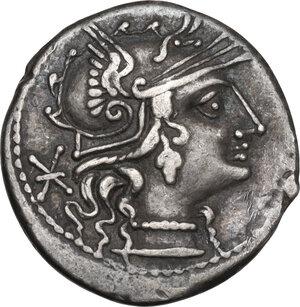 obverse: L. Minucius Basilus. Denarius, Rome mint, 133 BC