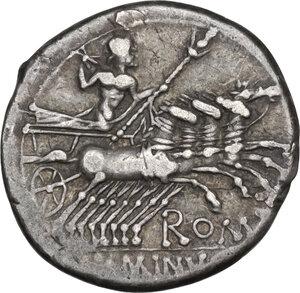 reverse: L. Minucius Basilus. Denarius, Rome mint, 133 BC