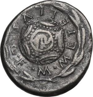reverse: M. Caecilius Q.f. Q.n. Metellus. Denarius, Rome mint, 127 BC