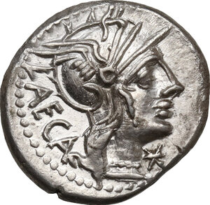 obverse: M. Porcius Laeca.. AR Denarius, 125 BC
