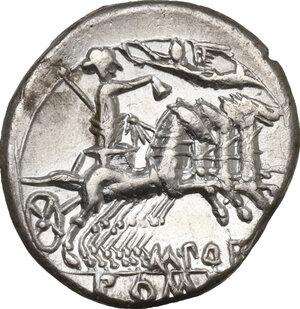 reverse: M. Porcius Laeca.. AR Denarius, 125 BC