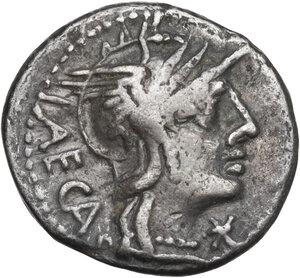 obverse: M. Porcius Laeca.. Denarius, Rome mint, 125 BC