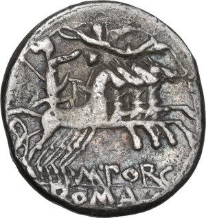 reverse: M. Porcius Laeca.. Denarius, Rome mint, 125 BC